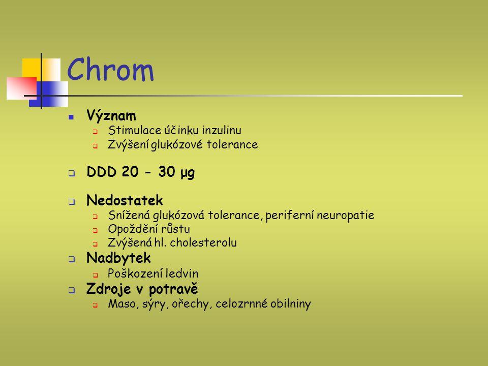 Chrom Význam DDD 20 - 30 μg Nedostatek Nadbytek Zdroje v potravě