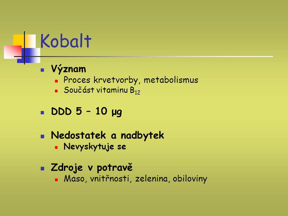 Kobalt Nedostatek a nadbytek Zdroje v potravě Význam DDD 5 – 10 μg
