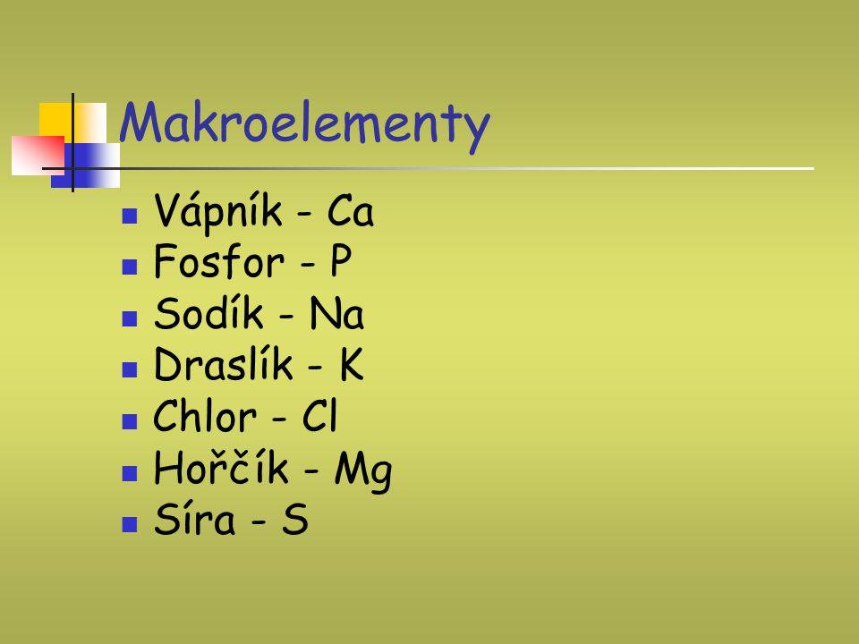 Makroelementy Vápník - Ca Fosfor - P Sodík - Na Draslík - K Chlor - Cl