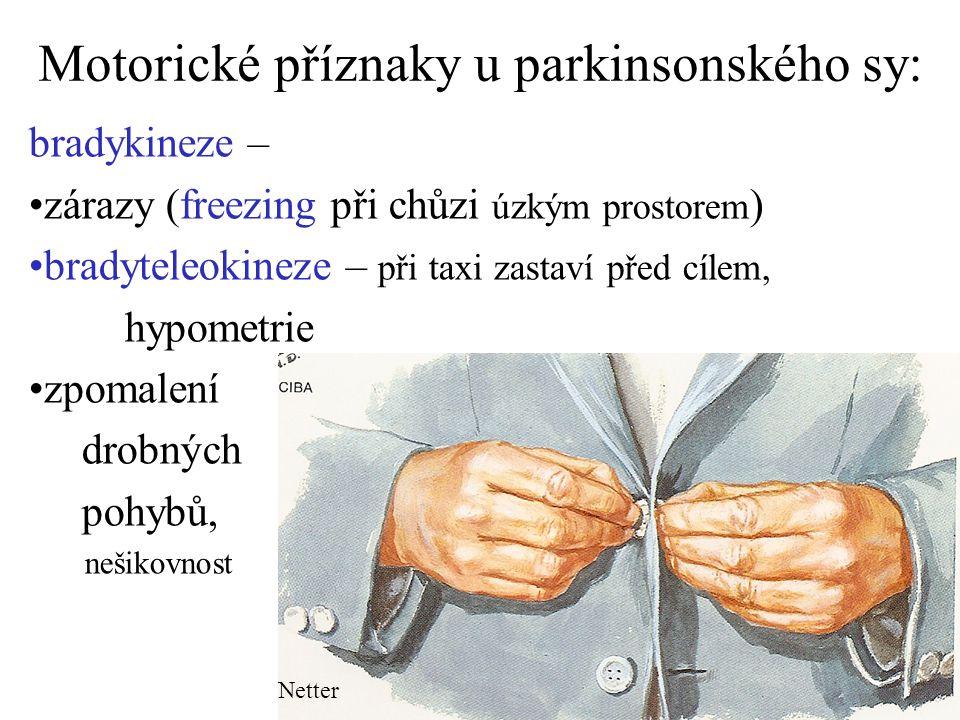 Motorické příznaky u parkinsonského sy: