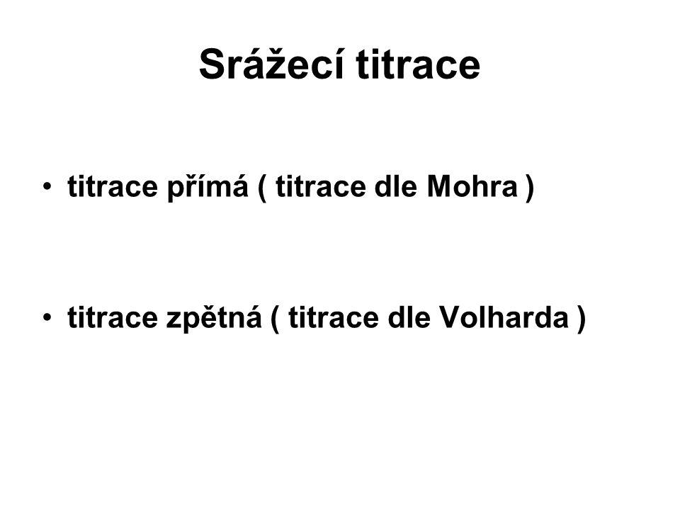 Srážecí titrace titrace přímá ( titrace dle Mohra )