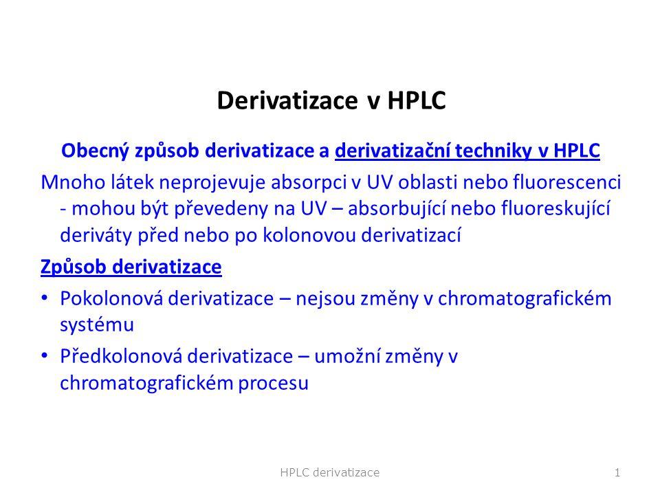 Obecný způsob derivatizace a derivatizační techniky v HPLC
