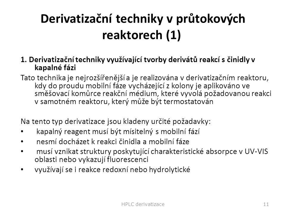Derivatizační techniky v průtokových reaktorech (1)