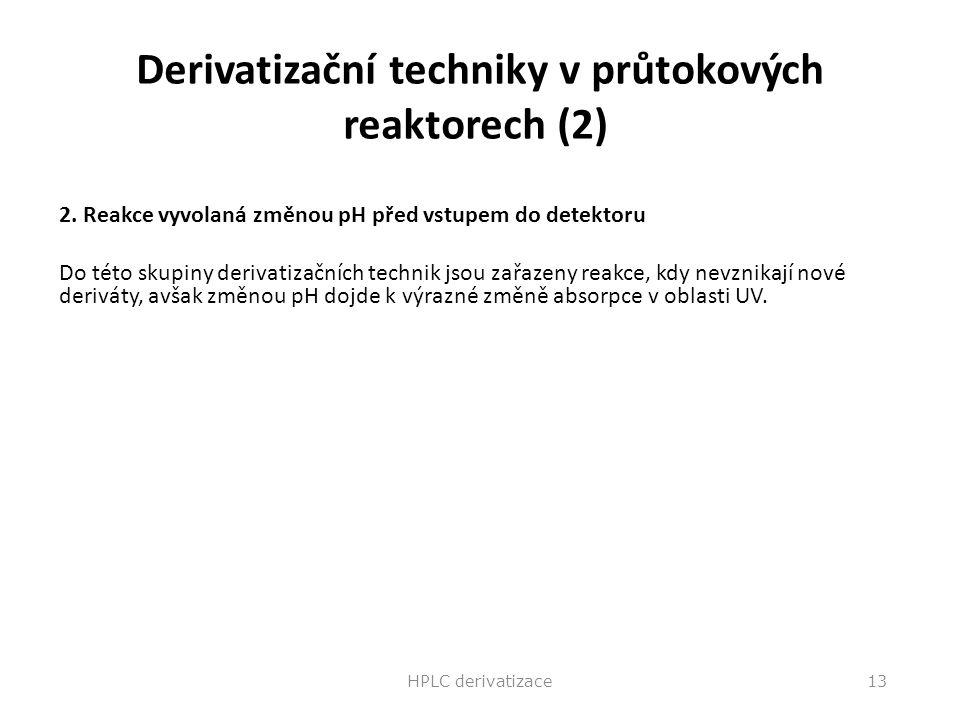 Derivatizační techniky v průtokových reaktorech (2)