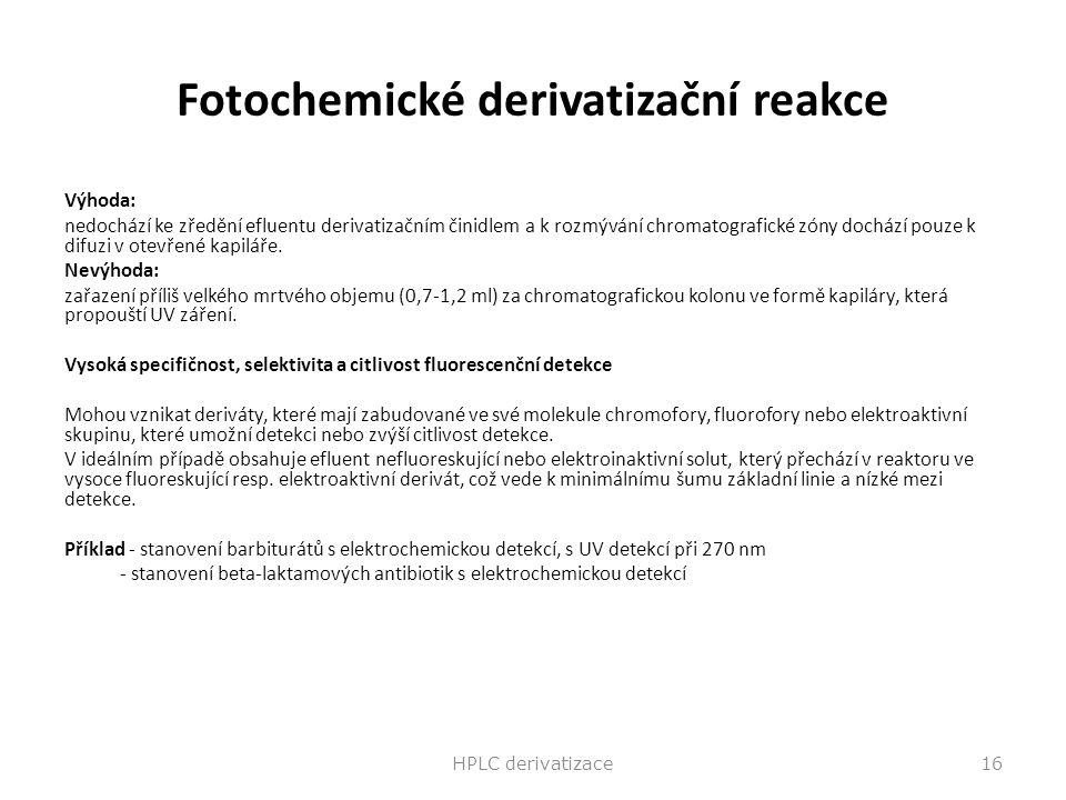 Fotochemické derivatizační reakce