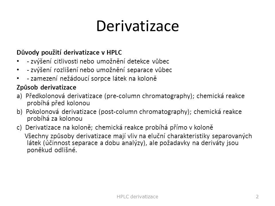 Derivatizace Důvody použití derivatizace v HPLC