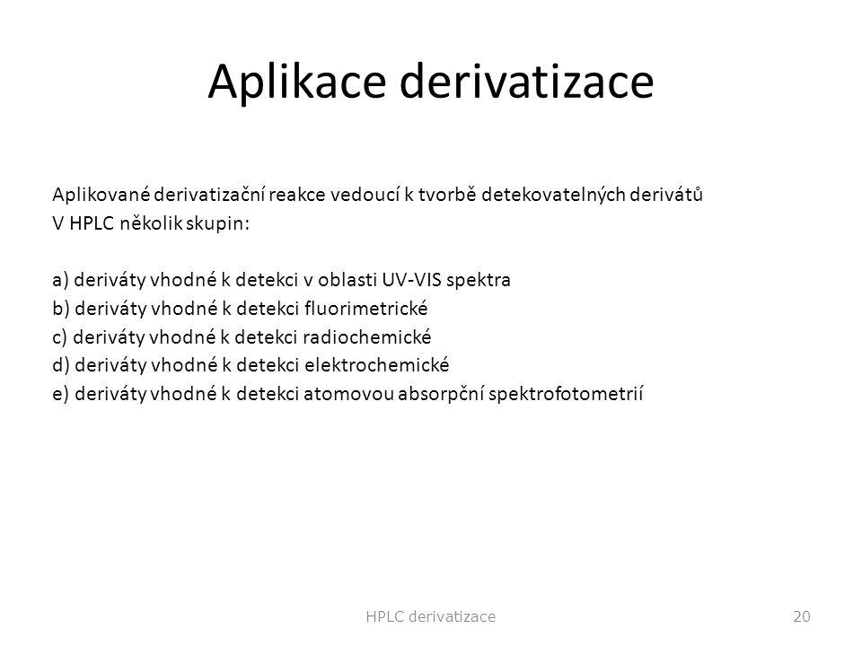 Aplikace derivatizace