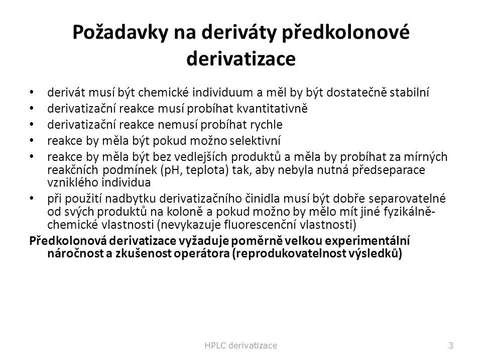 Požadavky na deriváty předkolonové derivatizace