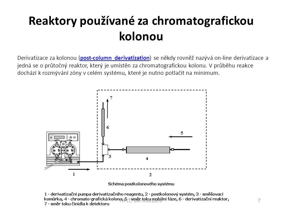Reaktory používané za chromatografickou kolonou