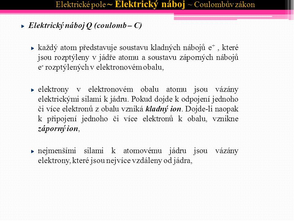 Elektrické pole ~ Elektrický náboj ~ Coulombův zákon