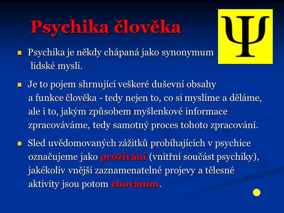 Psychika člověka Psychika je někdy chápaná jako synonymum