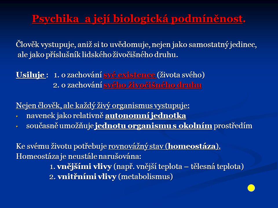 Psychika a její biologická podmíněnost.