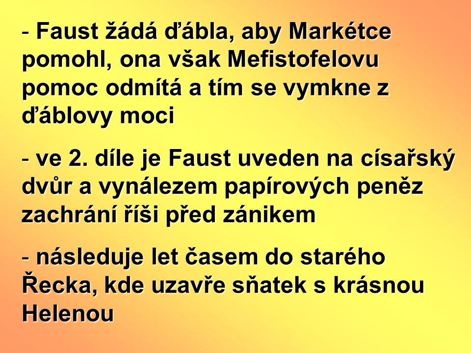 Faust žádá ďábla, aby Markétce pomohl, ona však Mefistofelovu pomoc odmítá a tím se vymkne z ďáblovy moci