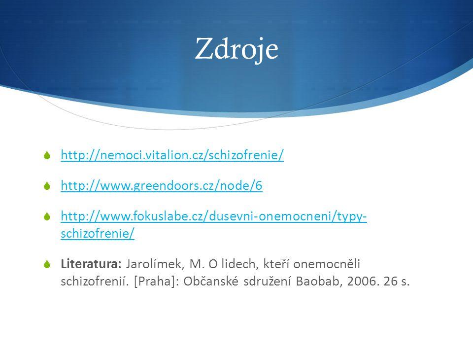 Zdroje http://nemoci.vitalion.cz/schizofrenie/