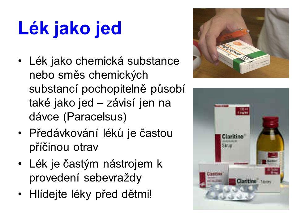 Lék jako jed Lék jako chemická substance nebo směs chemických substancí pochopitelně působí také jako jed – závisí jen na dávce (Paracelsus)