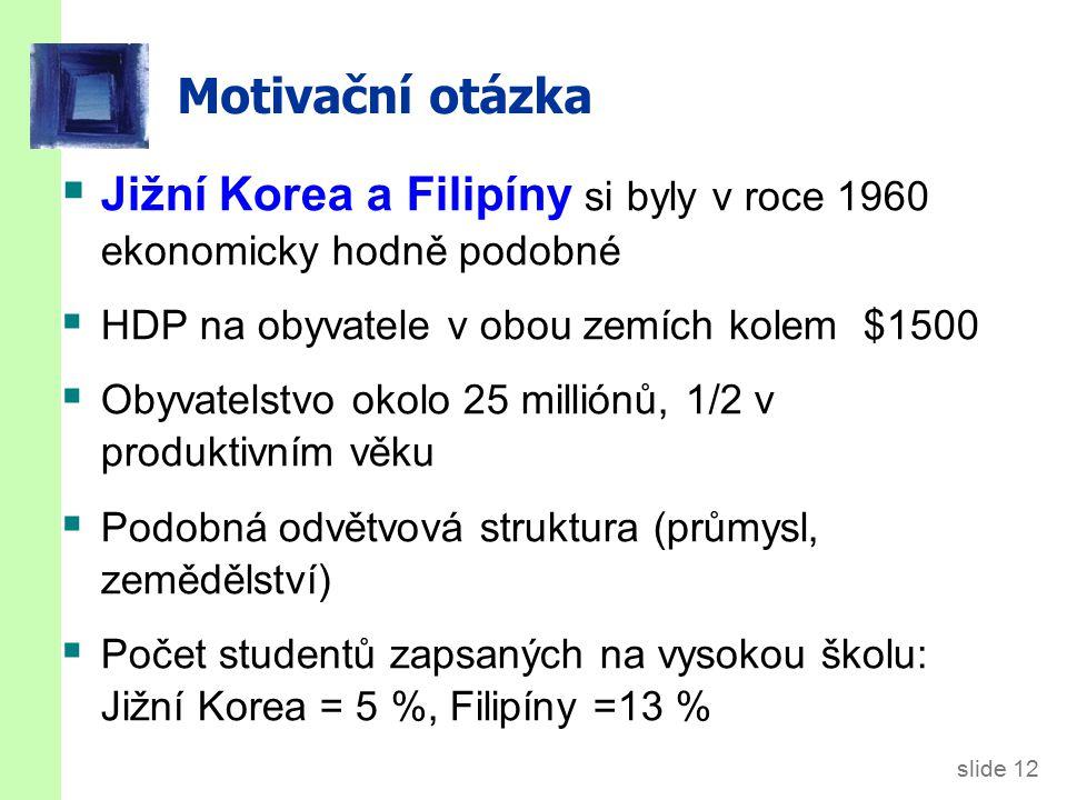 Motivační otázka Během let 1960 a 2009 se ale makroekonomický vývoj hodně lišil. Ekonomický růst: Jižní Korea = 5,4 %, Filipíny = 1,6 %