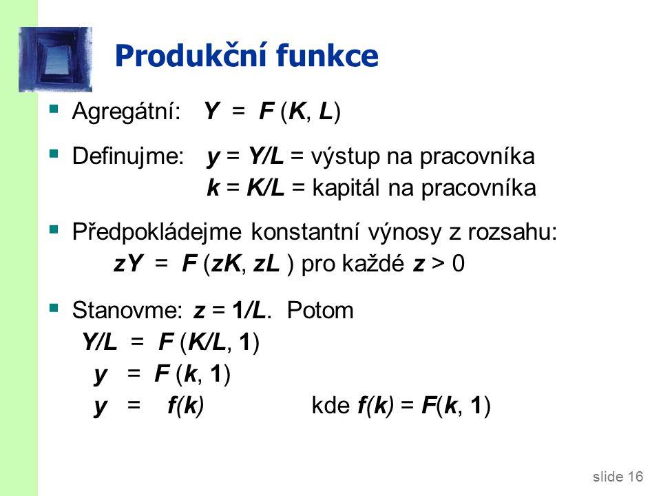 Produkční funkce f(k) MPK = f(k +1) – f(k) 1