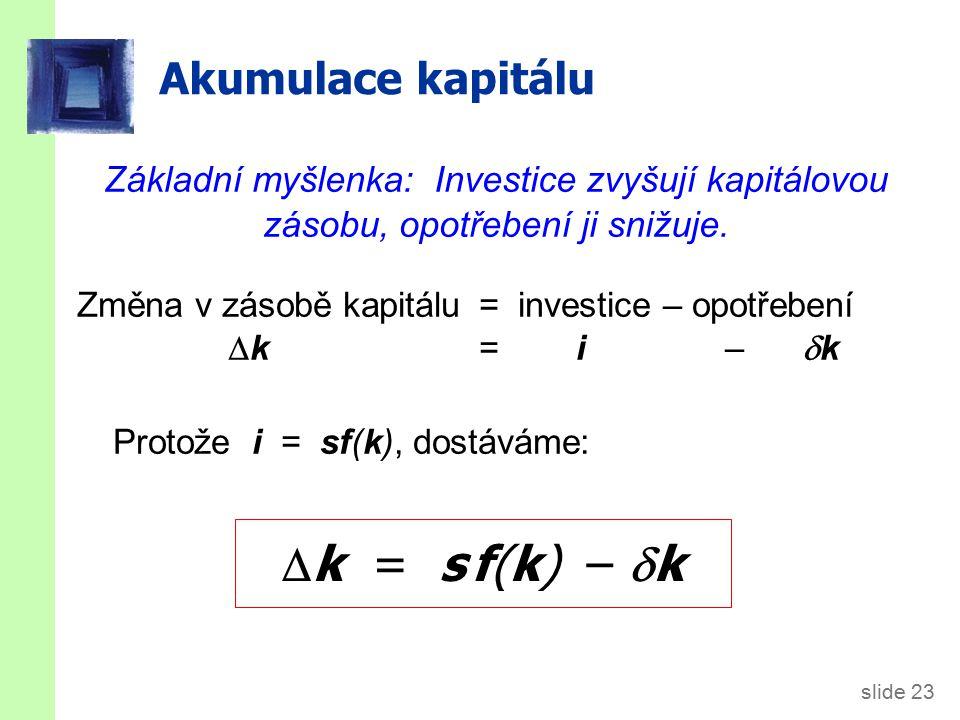 """k = s f(k) – k Rovnice změny """"k důchod na hlavu: y = f(k)"""
