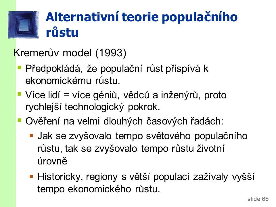 Kremerův model Data o růstu populace 1 mil. před Kristem - 1990