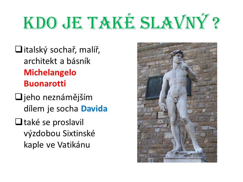 Kdo je také slavný italský sochař, malíř, architekt a básník Michelangelo Buonarotti. jeho neznámějším dílem je socha Davida.