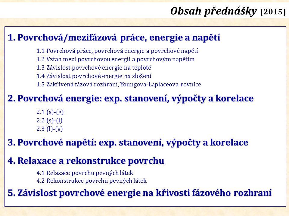 Obsah přednášky (2015) 1. Povrchová/mezifázová práce, energie a napětí