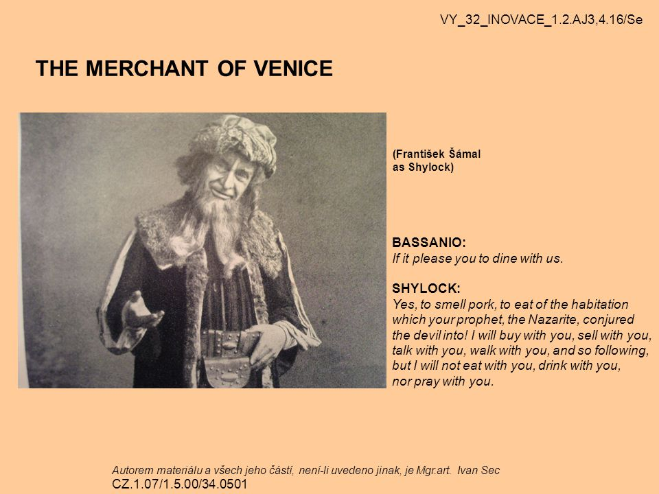 THE MERCHANT OF VENICE VY_32_INOVACE_1.2.AJ3,4.16/Se