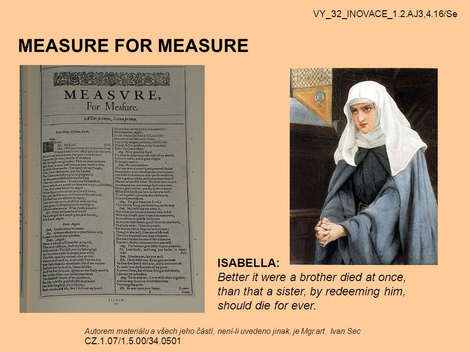 MEASURE FOR MEASURE ISABELLA: