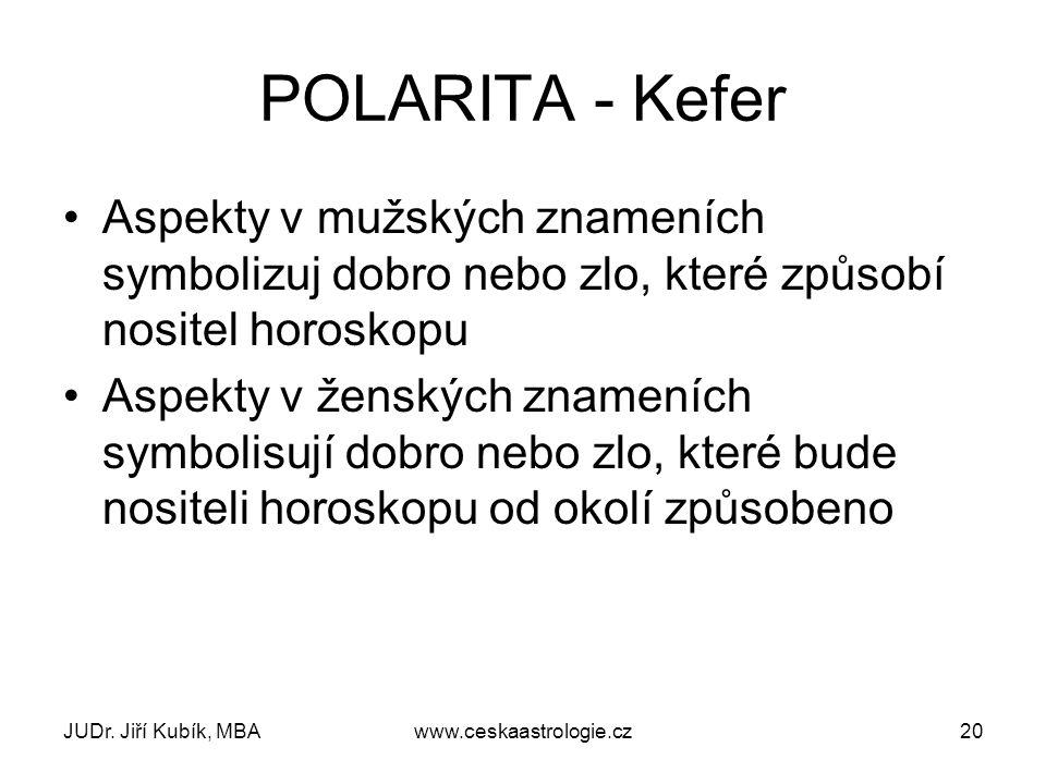 POLARITA - Kefer Aspekty v mužských znameních symbolizuj dobro nebo zlo, které způsobí nositel horoskopu.
