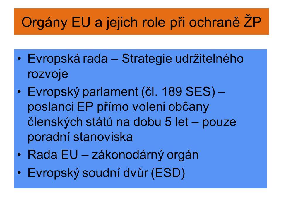 Orgány EU a jejich role při ochraně ŽP