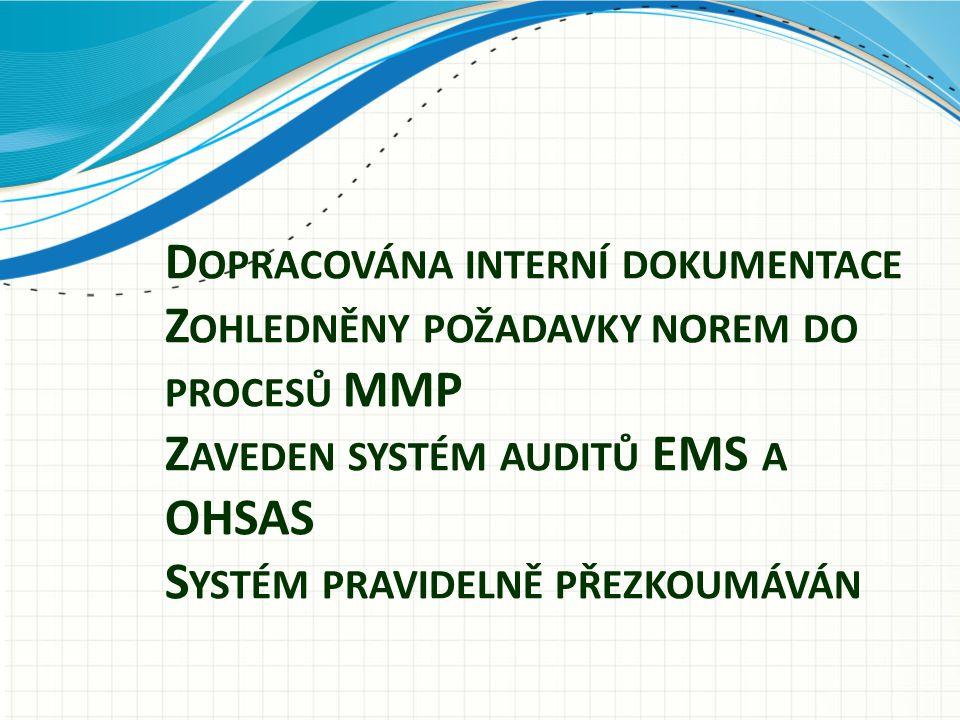 Dopracována interní dokumentace Zohledněny požadavky norem do procesů MMP Zaveden systém auditů EMS a OHSAS Systém pravidelně přezkoumáván