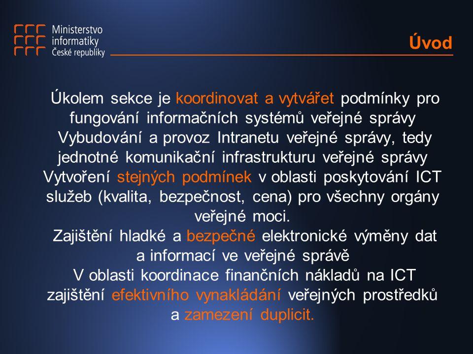 Úvod Úkolem sekce je koordinovat a vytvářet podmínky pro fungování informačních systémů veřejné správy.