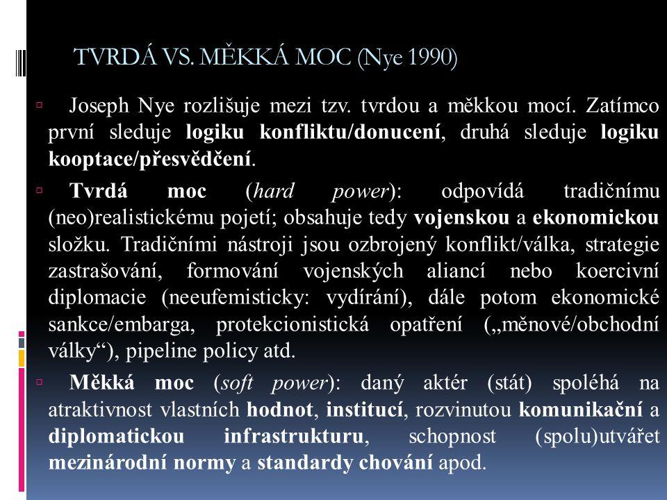 TVRDÁ VS. MĚKKÁ MOC (Nye 1990)
