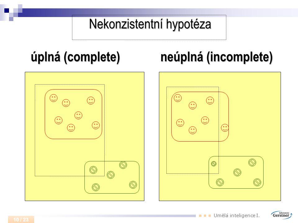 Nekonzistentní hypotéza úplná (complete) neúplná (incomplete)