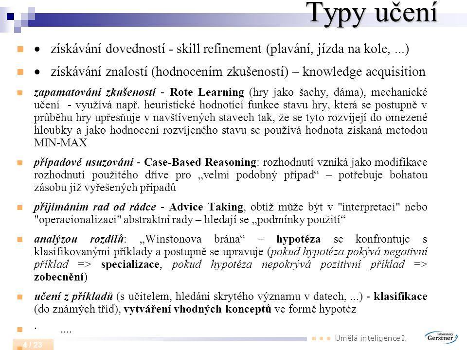 Typy učení · získávání dovedností - skill refinement (plavání, jízda na kole, ...)