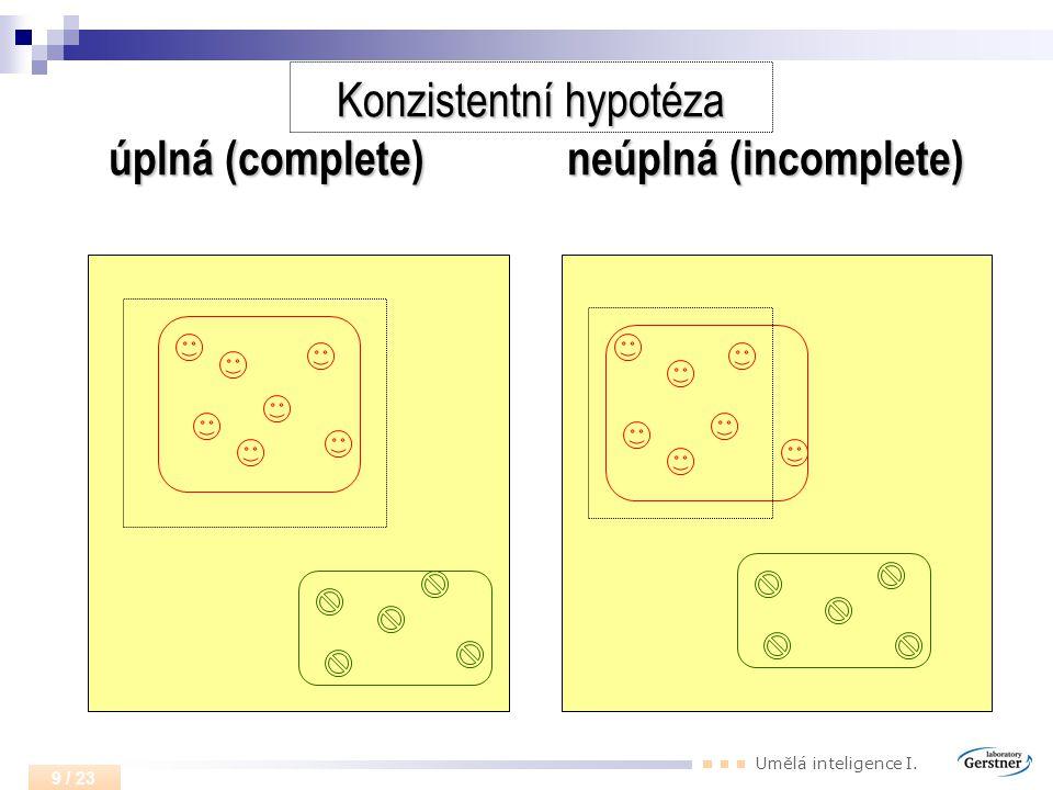 Konzistentní hypotéza úplná (complete) neúplná (incomplete)