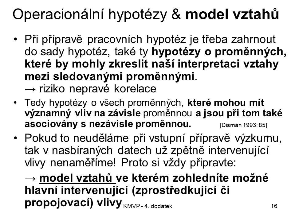 Operacionální hypotézy & model vztahů