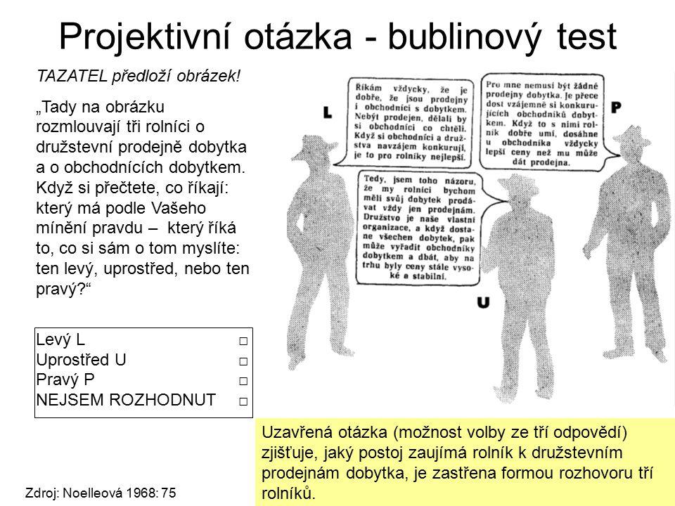 Projektivní otázka - bublinový test