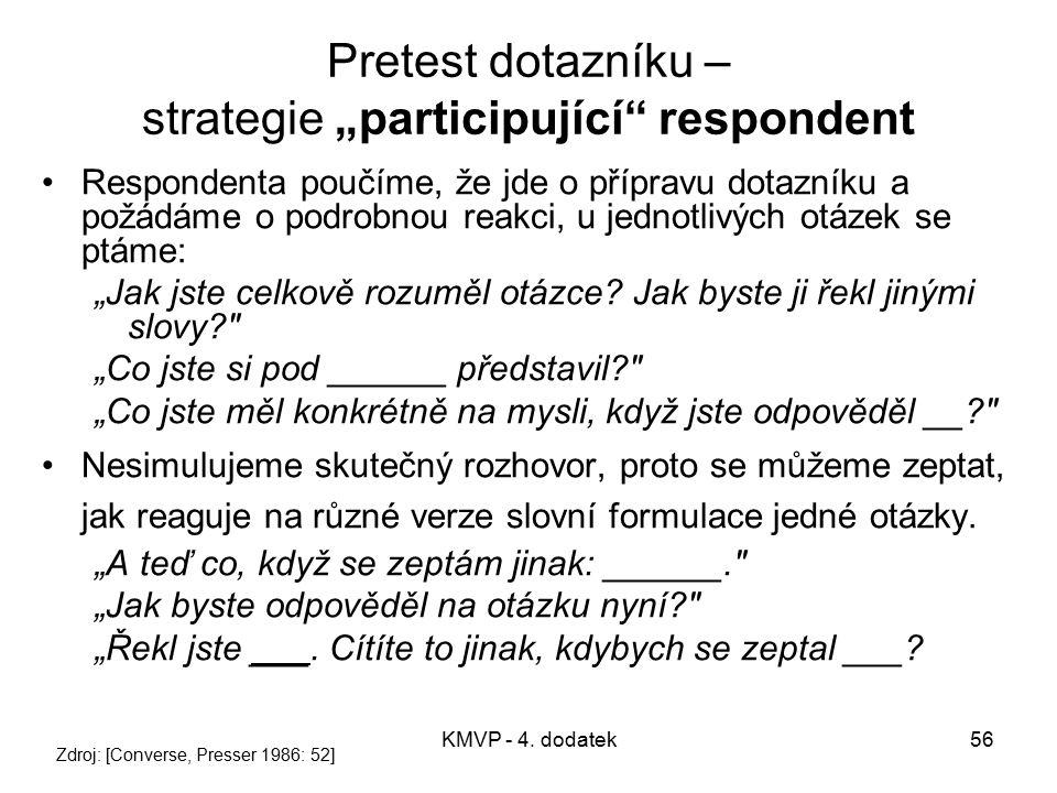 """Pretest dotazníku – strategie """"participující respondent"""