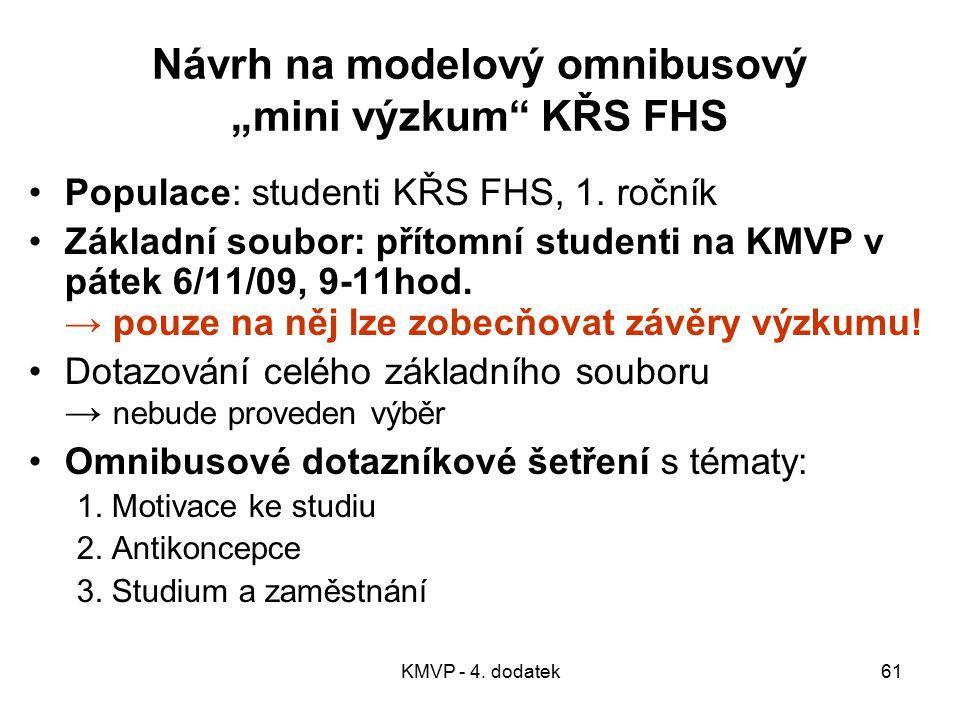"""Návrh na modelový omnibusový """"mini výzkum KŘS FHS"""