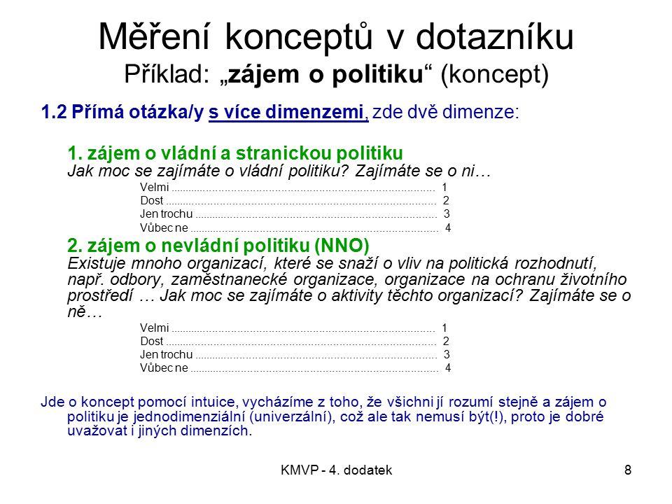 """Měření konceptů v dotazníku Příklad: """"zájem o politiku (koncept)"""