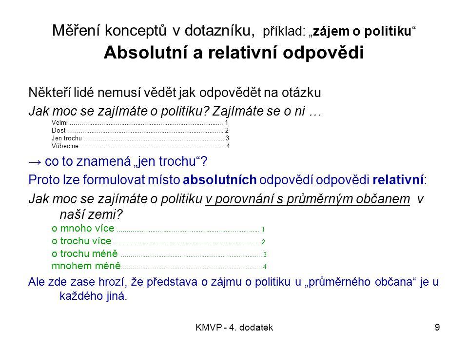 """Měření konceptů v dotazníku, příklad: """"zájem o politiku Absolutní a relativní odpovědi"""