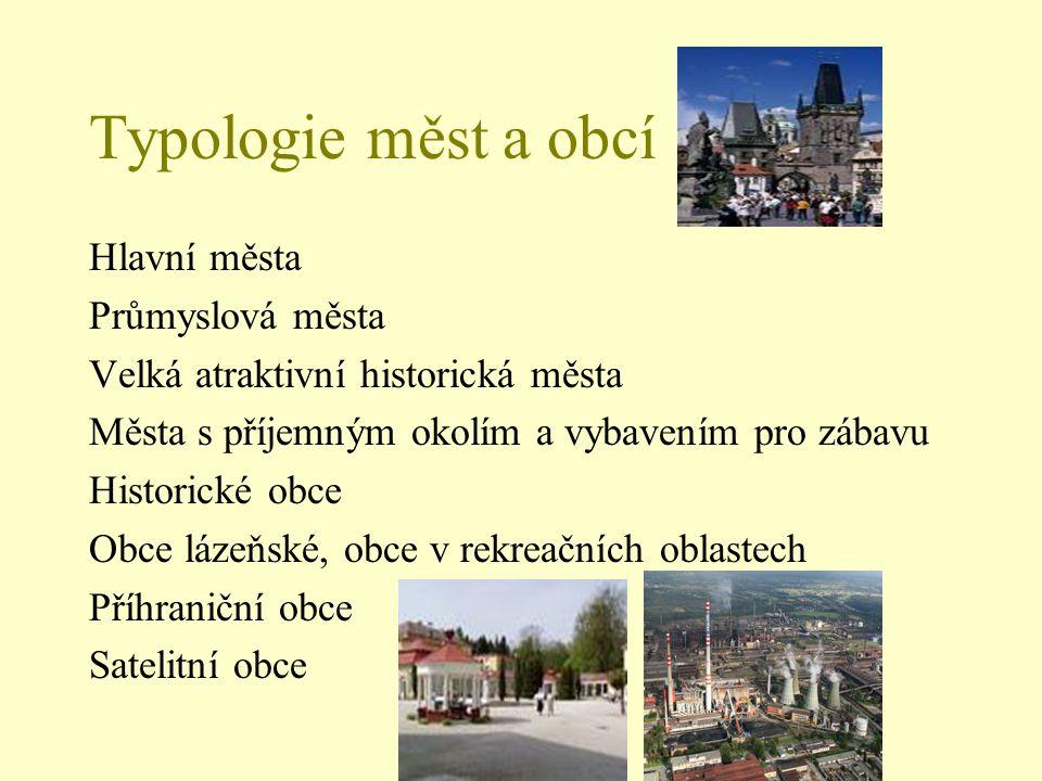 Typologie měst a obcí Hlavní města Průmyslová města