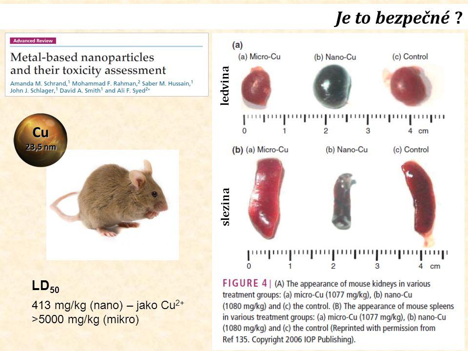 Je to bezpečné Cu LD50 ledvina slezina 413 mg/kg (nano) – jako Cu2+