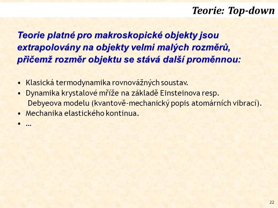 Teorie: Top-down Teorie platné pro makroskopické objekty jsou extrapolovány na objekty velmi malých rozměrů,