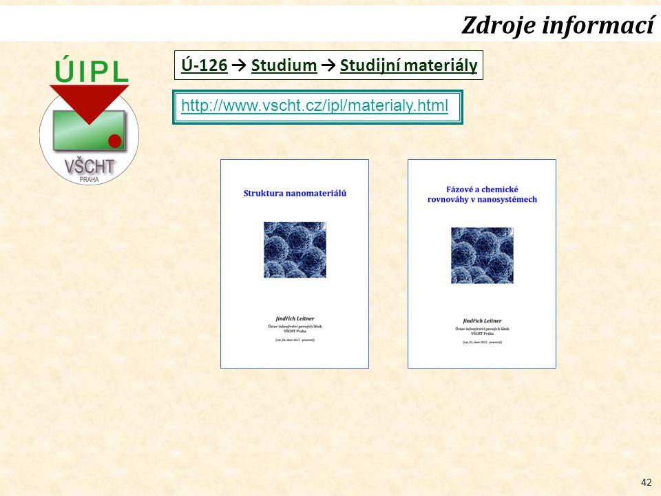 Zdroje informací Ú-126 → Studium → Studijní materiály