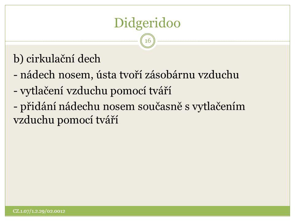 Didgeridoo b) cirkulační dech
