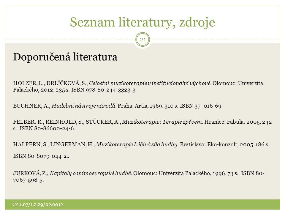Seznam literatury, zdroje