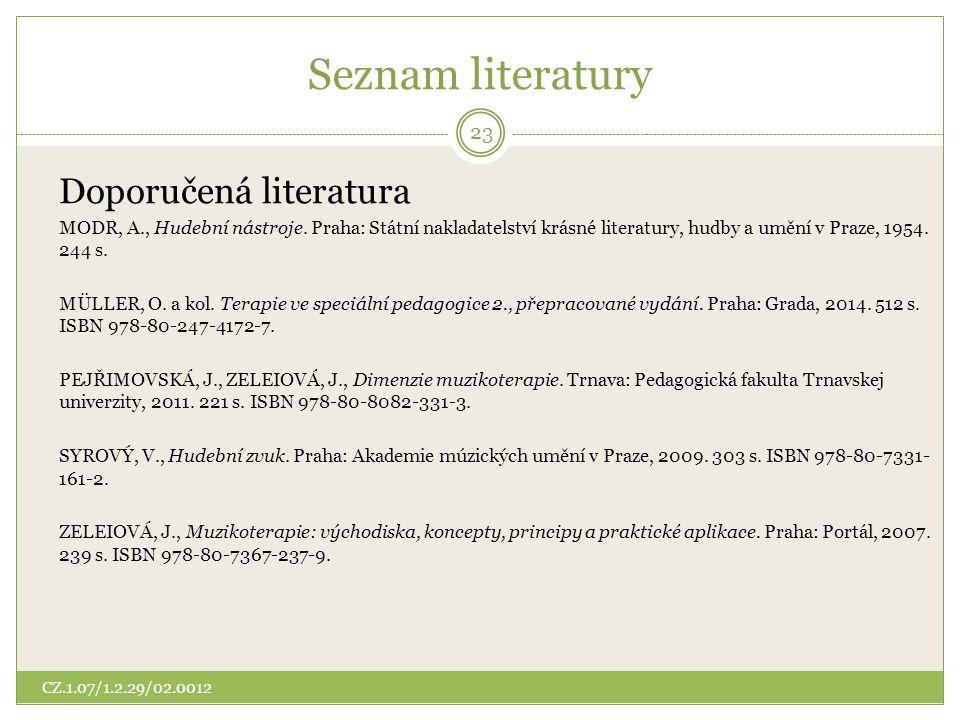 Seznam literatury Doporučená literatura