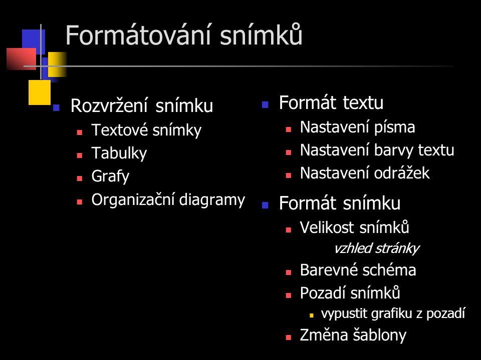 Formátování snímků Formát textu Rozvržení snímku Formát snímku