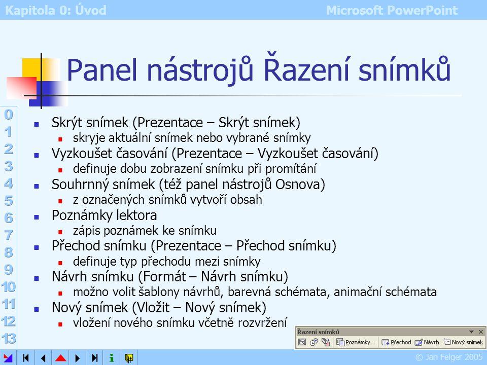 Panel nástrojů Řazení snímků